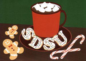 Decorative hot chocolate holiday mug with the letter SDSU at its base.