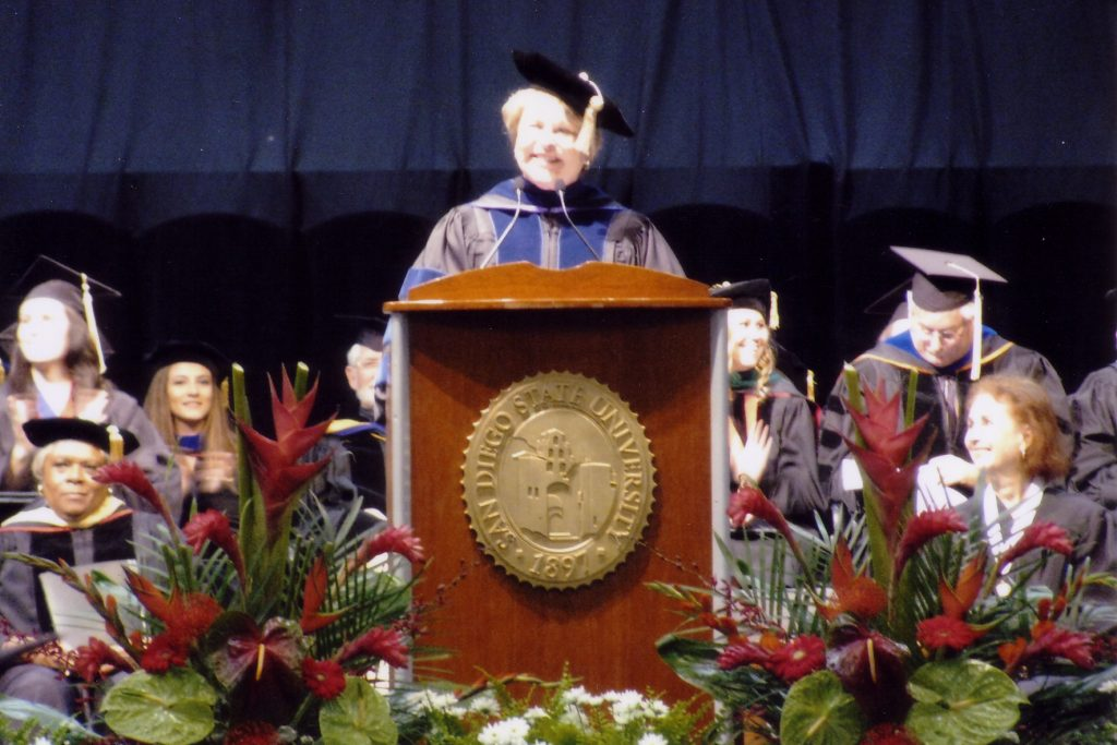 Dean Marilyn Newhoff of CHHS during the 2009 commencement.